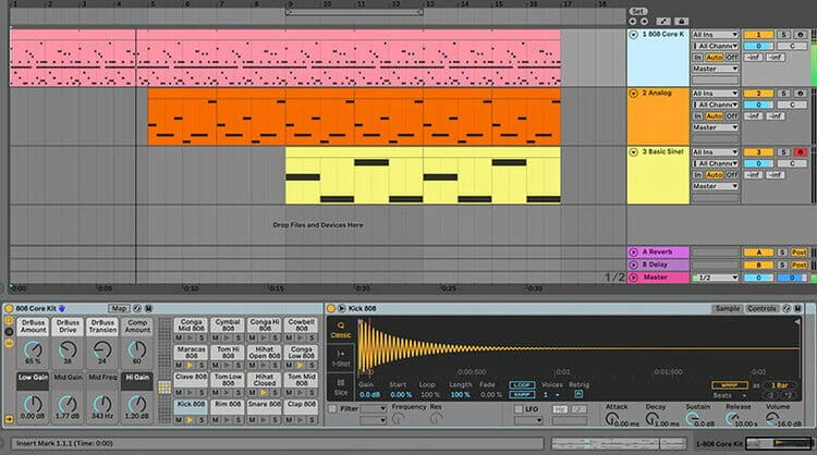 Learn to program drums using Ableton's powerful Drum Rack, and customize drum kits using your own samples. Learn the nuances of how beats vary from one genre to the next, and apply essential tools such as quantization and groove.